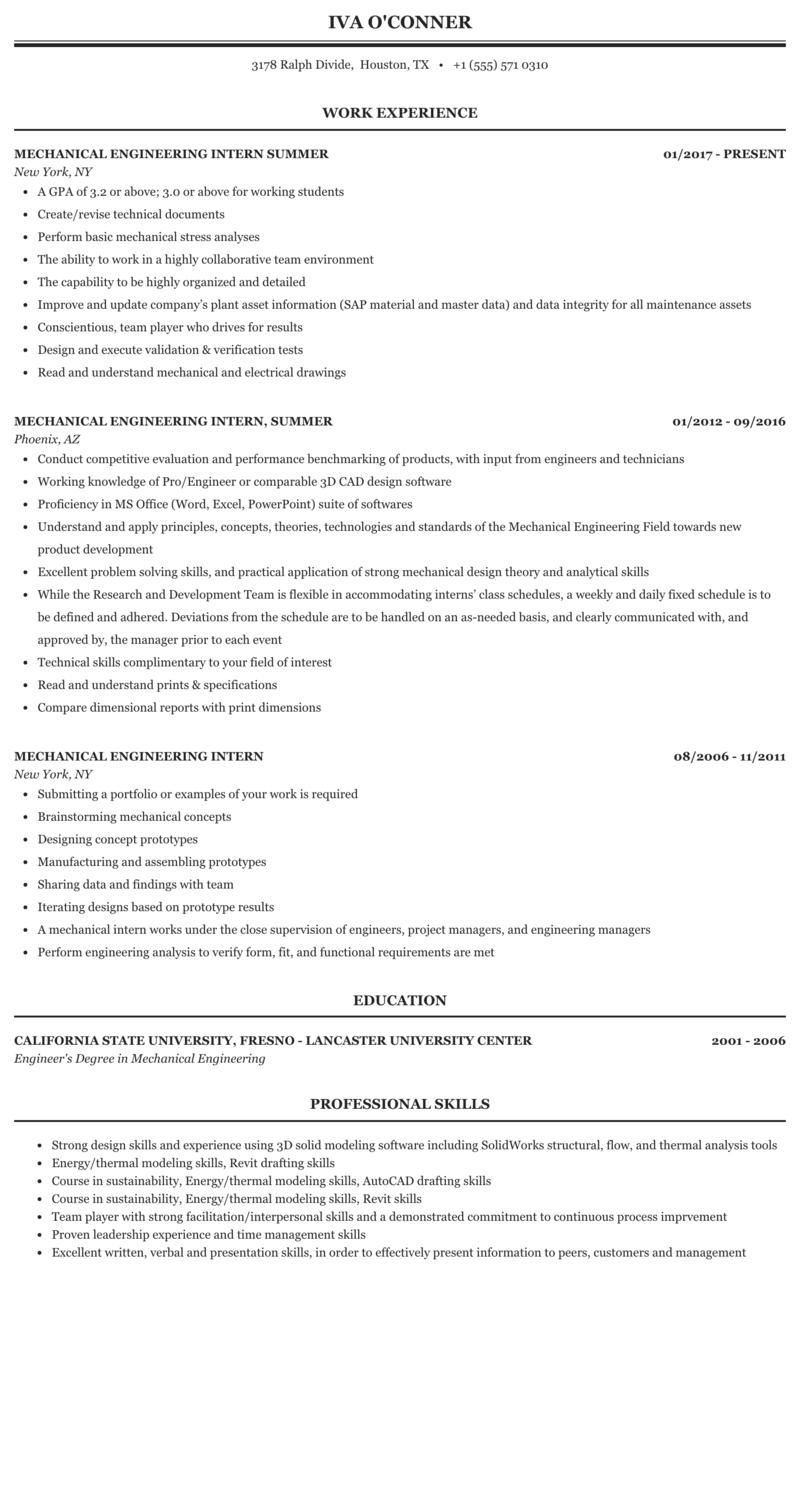 sample resume for internship in mechanical engineering