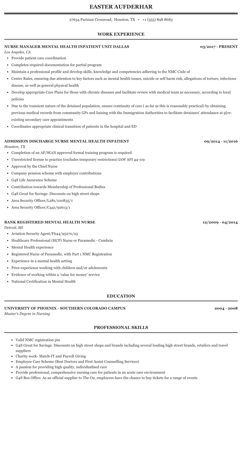 community mental health nurse resume sample