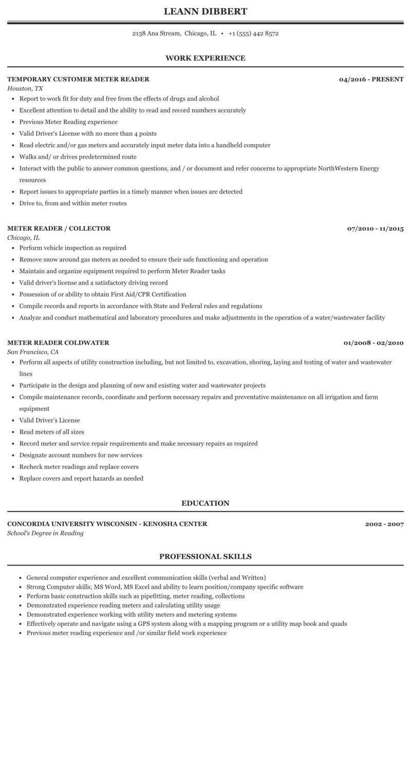 Utility meter reader resume restaurant business plan financial models