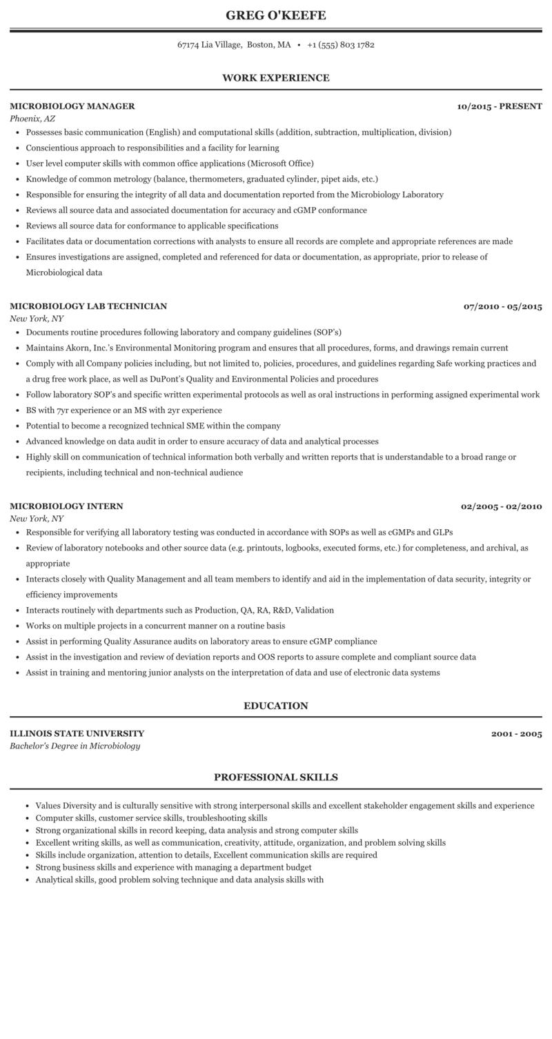 Microbiology Resume Sample Mintresume
