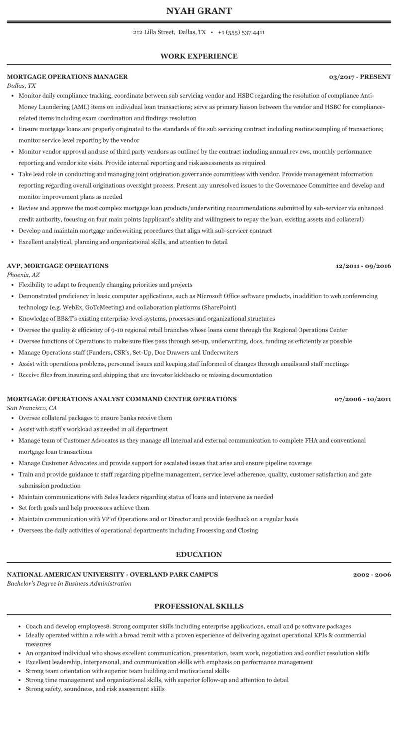 mortgage operations manager resume