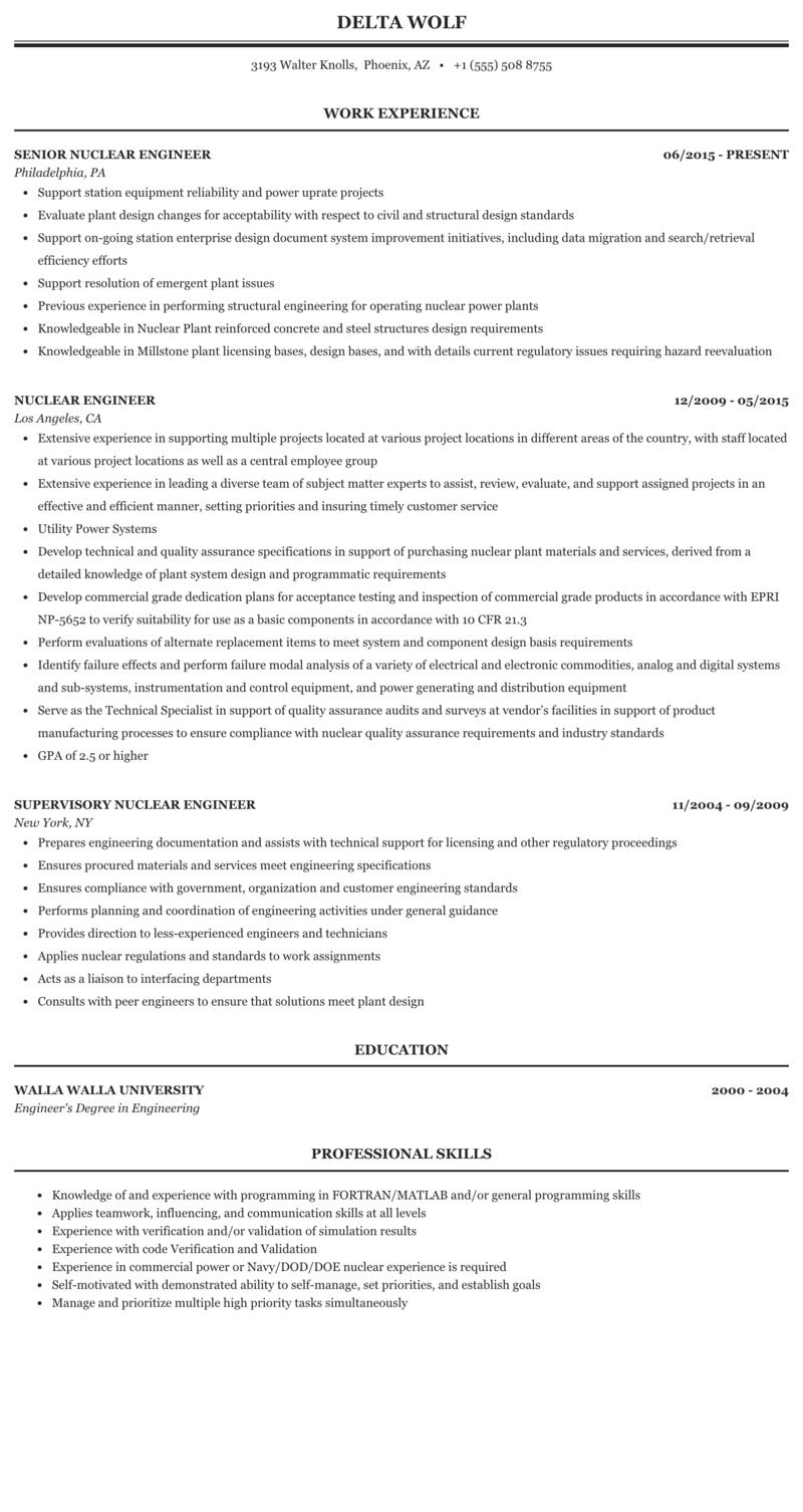 Nuclear engineer resume cc essay 1