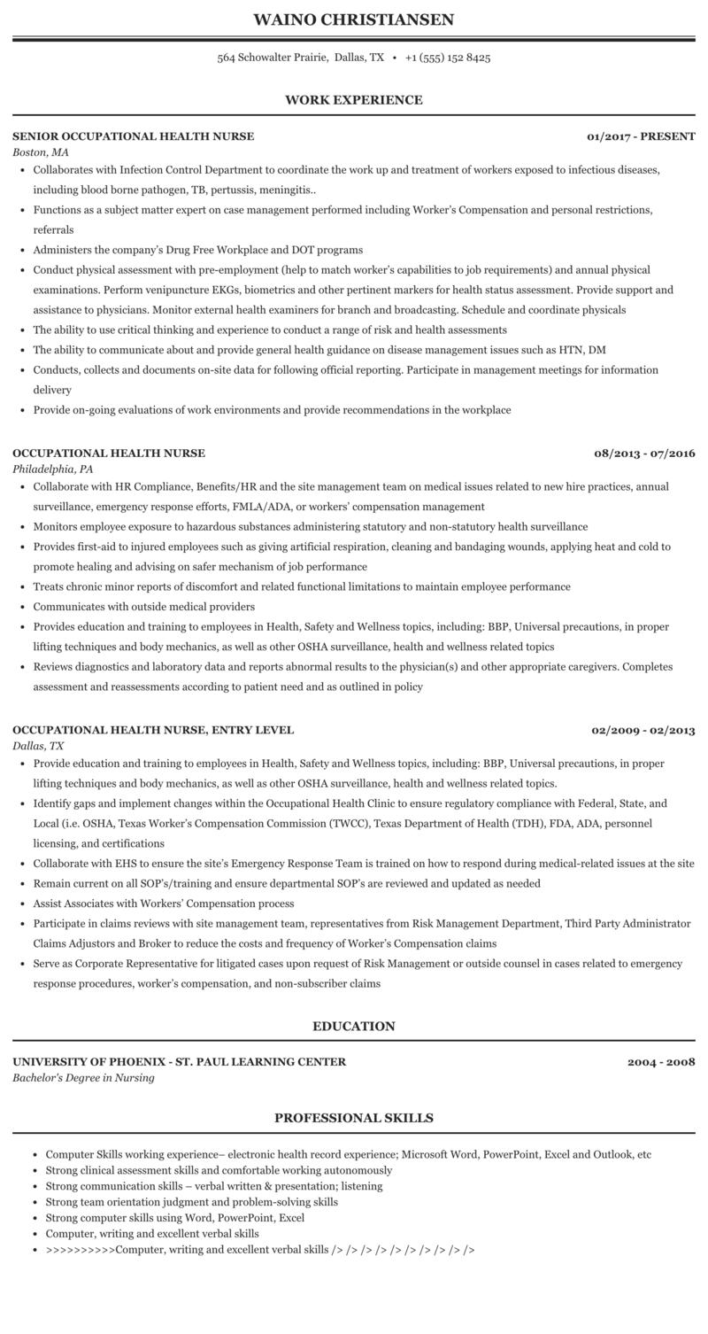 Occupational Health Nurse Resume Sample Mintresume