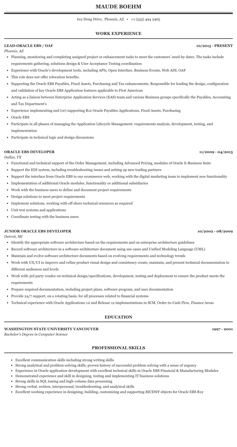 Oracle EBS Resume Sample | MintResume