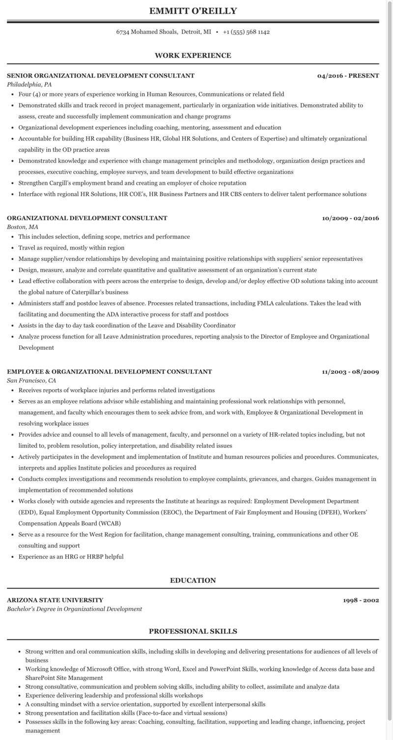 Organizational development trainer resume professional cover letter and resume services