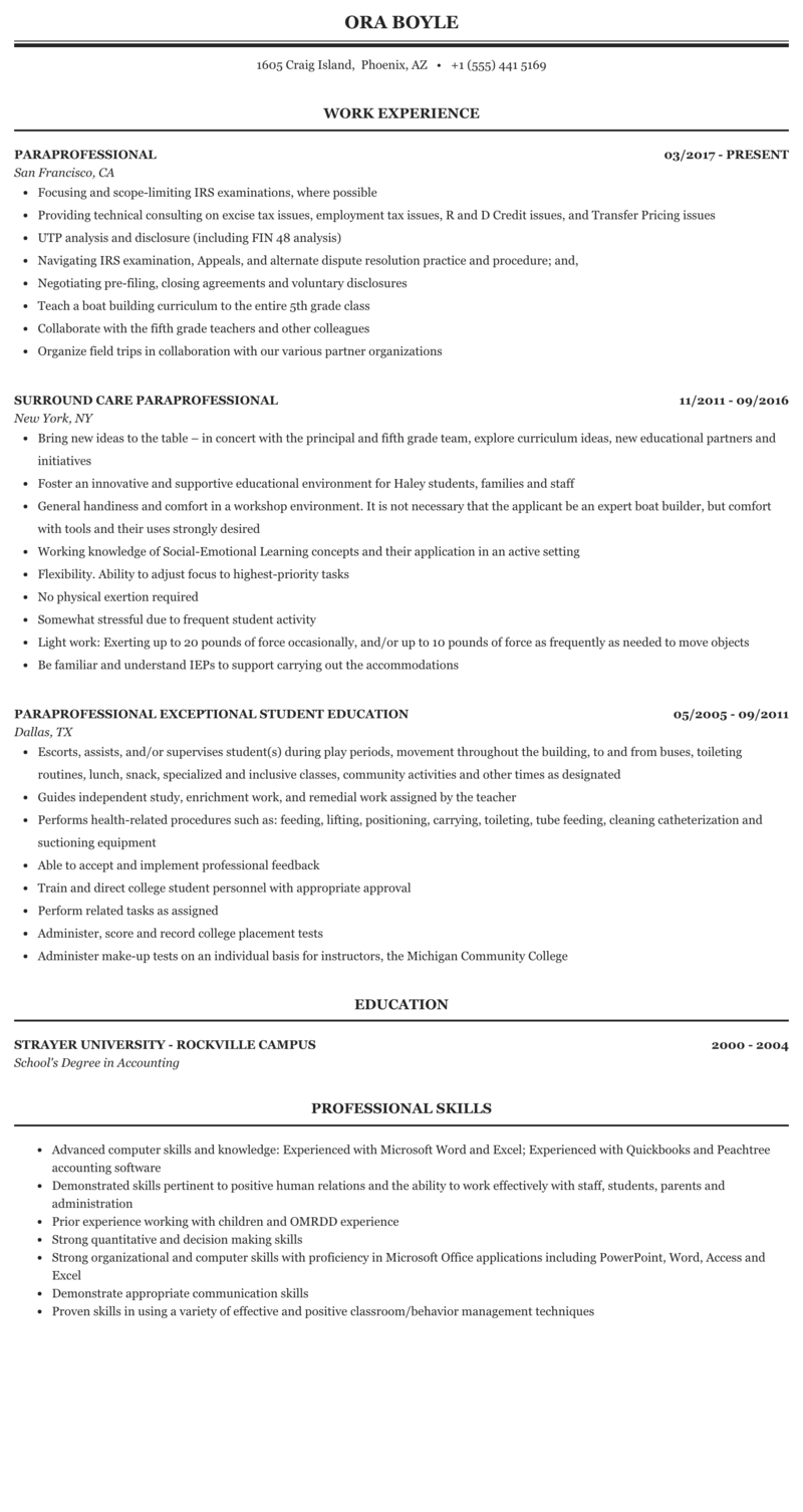 Paraprofessional Resume Sample Mintresume
