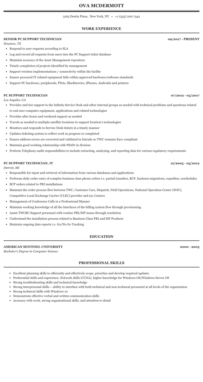 resume pc support mcse software support new york