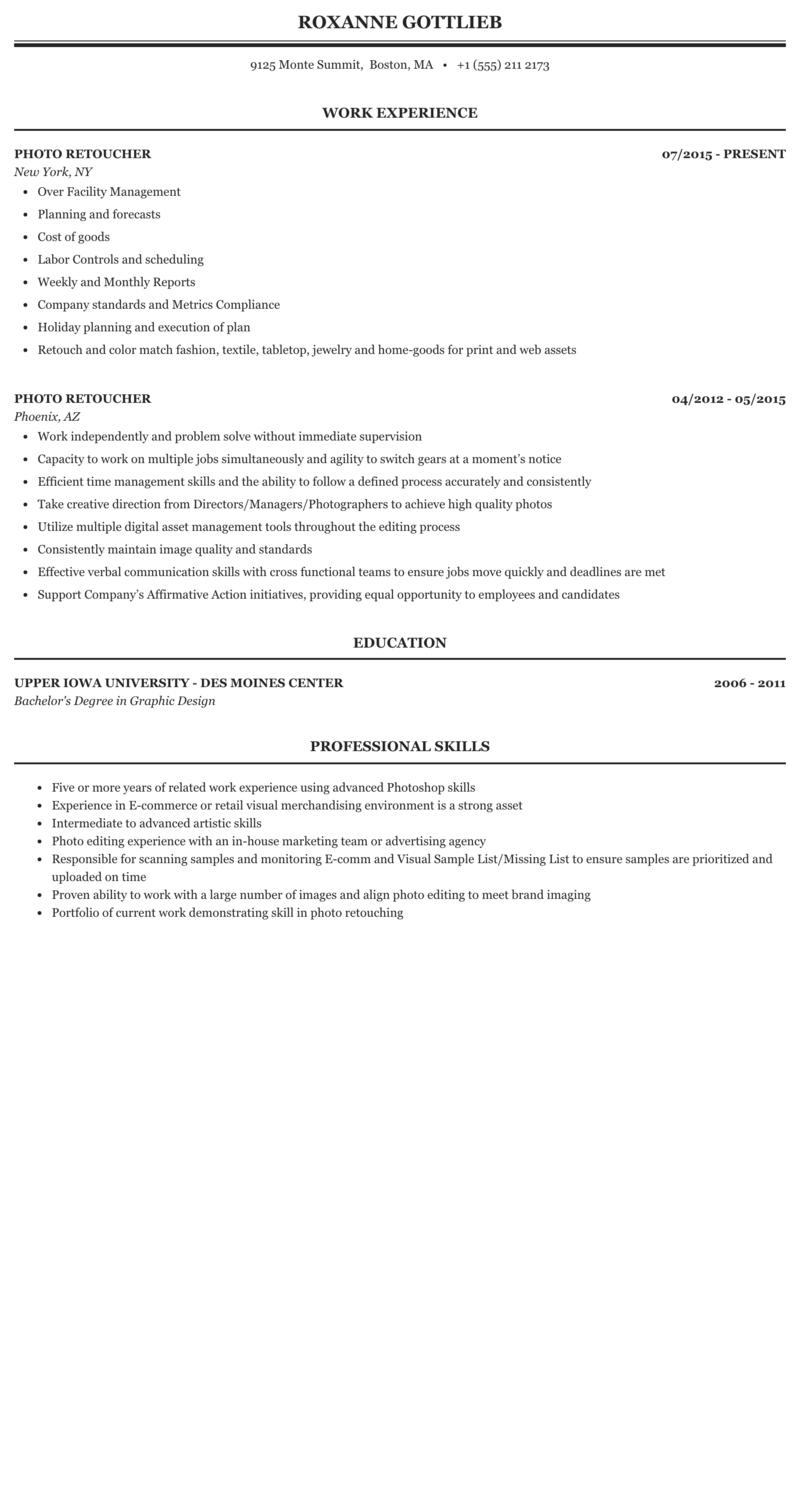 Photo Retoucher Resume Sample Mintresume
