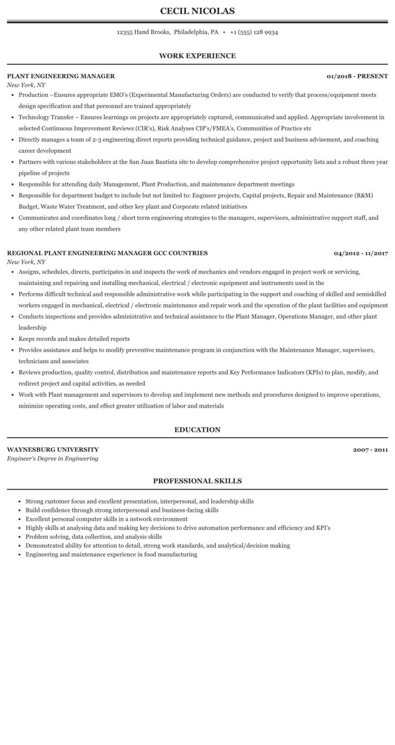 Plant Engineering Manager Resume Sample Mintresume