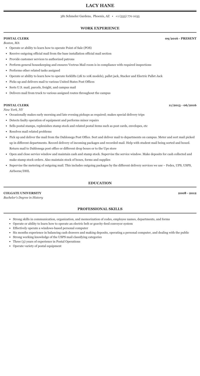 Resume for postal position best cover letter internship sample