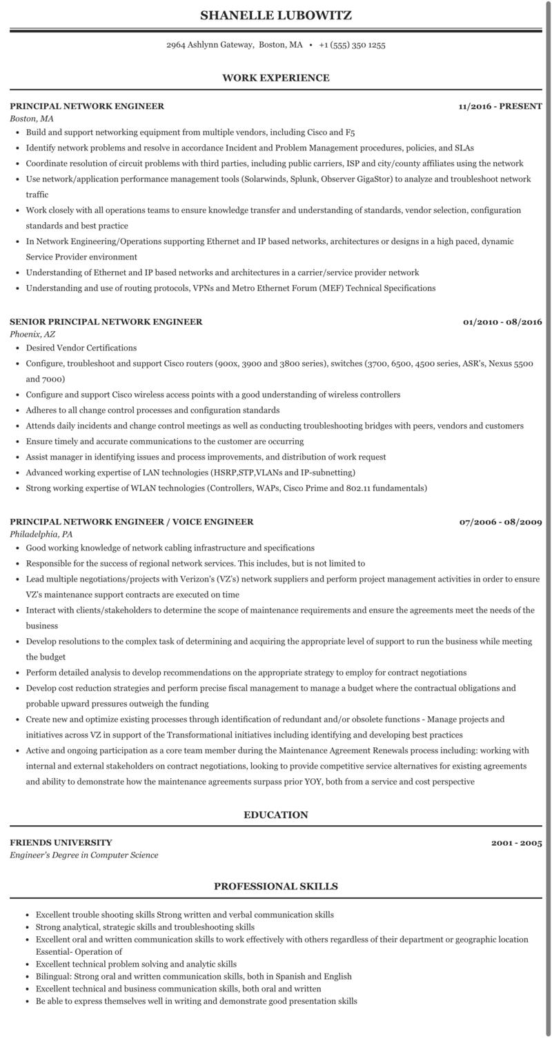 Principal Network Engineer Resume Sample | MintResume