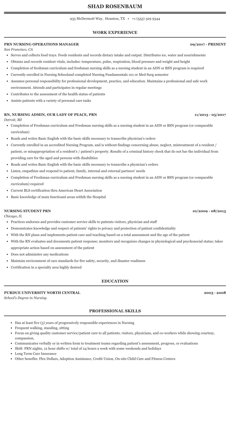 Prn Nursing Resume Sample Mintresume