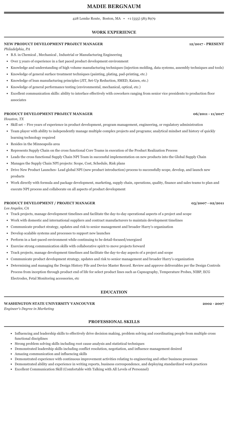 Product Development Project Manager Resume Sample Mintresume