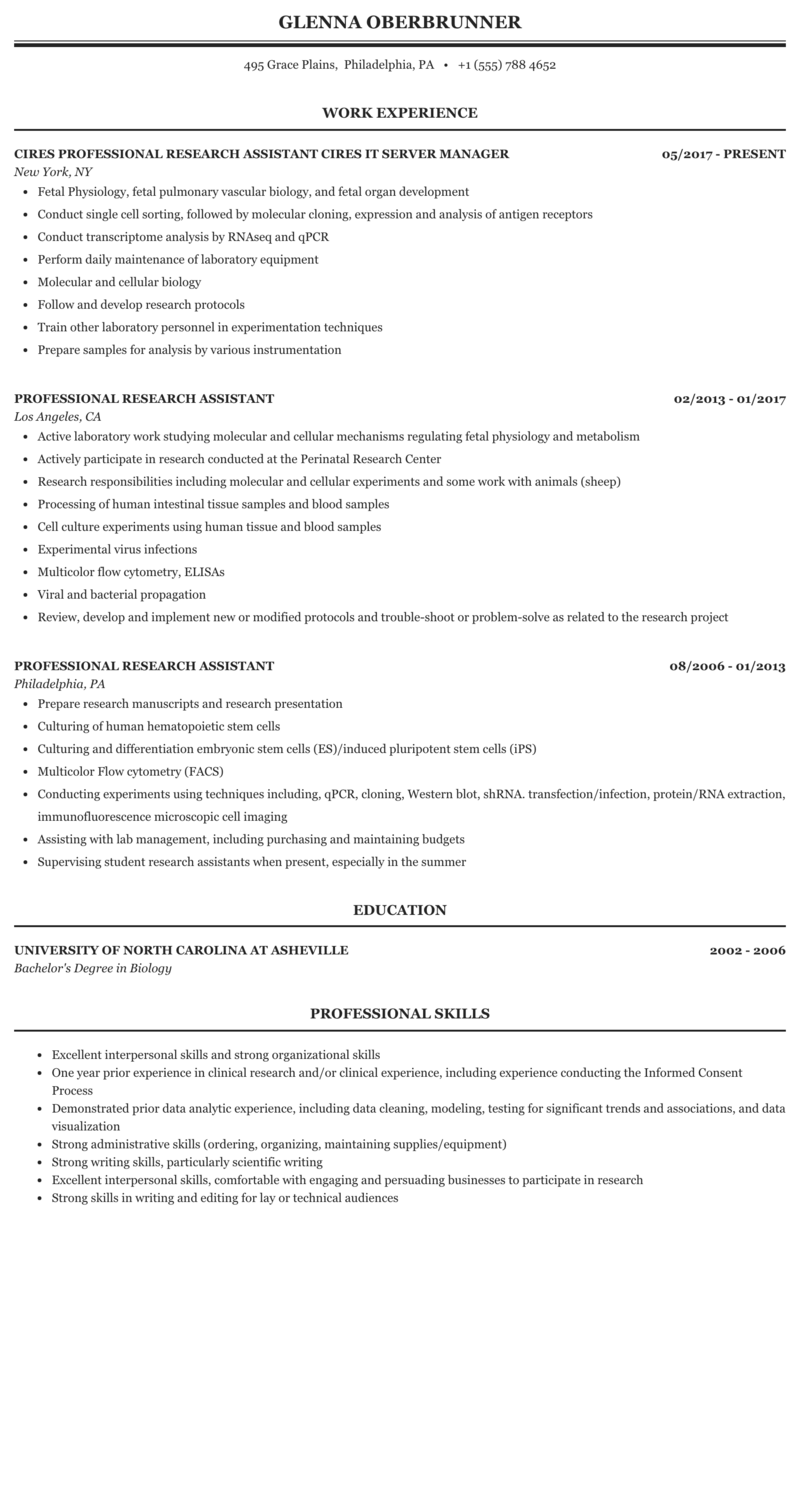Professional Research Assistant Resume Sample Mintresume