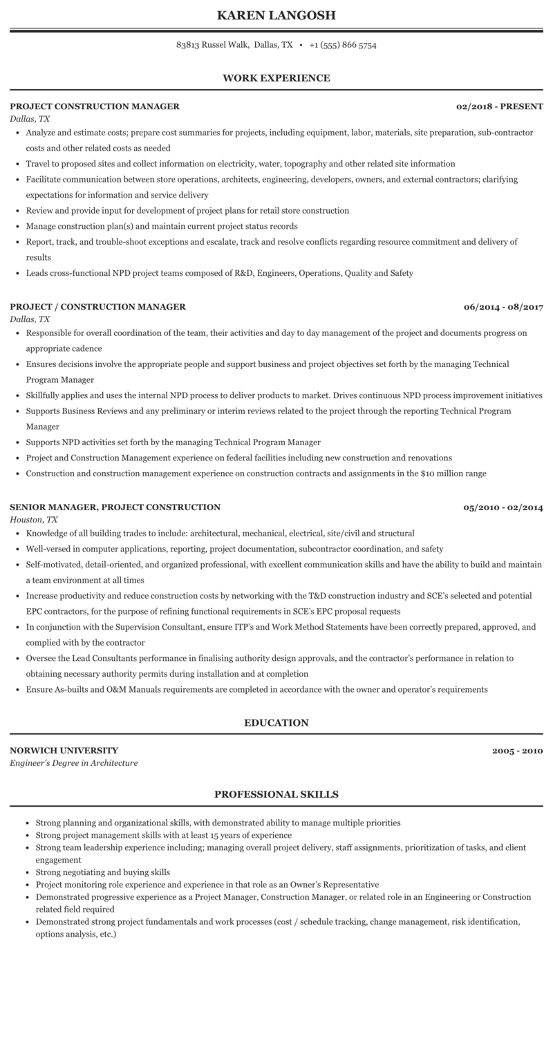 Project Construction Manager Resume Sample Mintresume