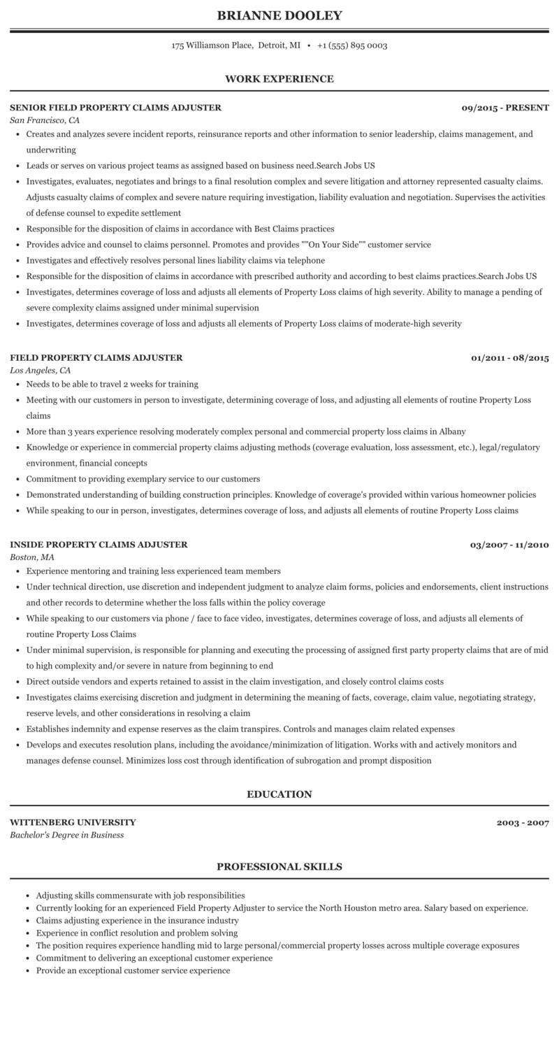 Property Claims Adjuster Resume Sample Mintresume