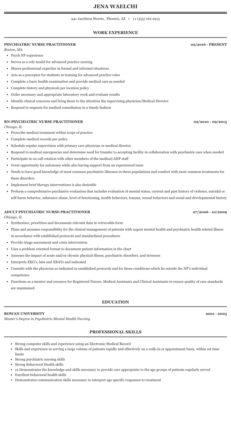 Psychiatric Nurse Practitioner Resume Sample Mintresume