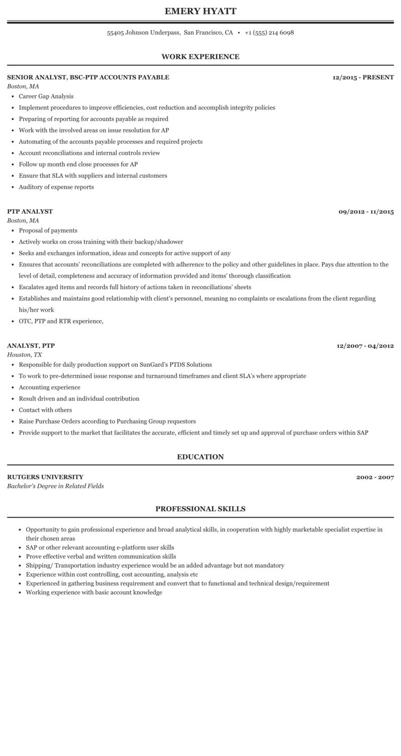 PTP Analyst Resume Sample | MintResume