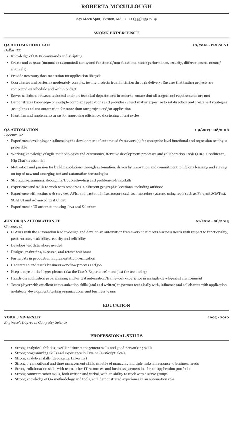 Qa Automation Resume Sample Mintresume