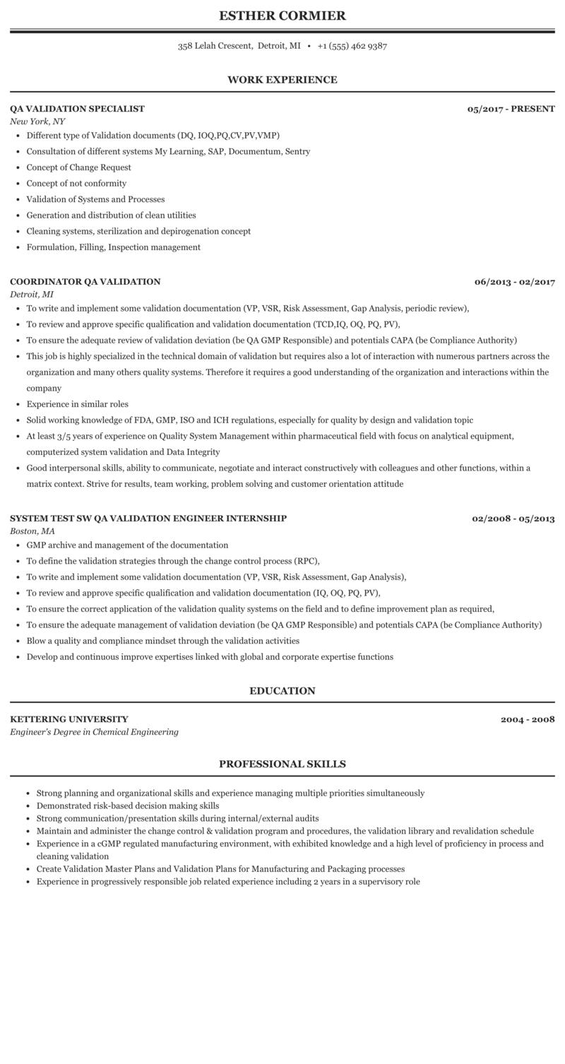 Qa Validation Resume Sample Mintresume