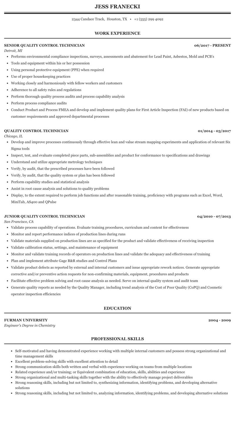 Quality Control Technician Resume Sample Mintresume