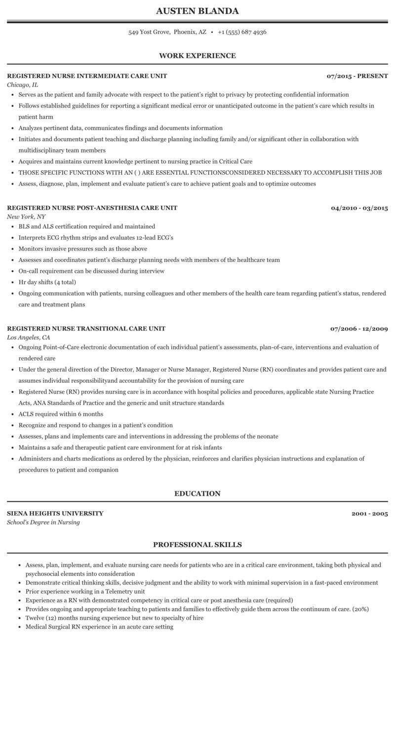 Registered Nurse Care Unit Resume Sample Mintresume