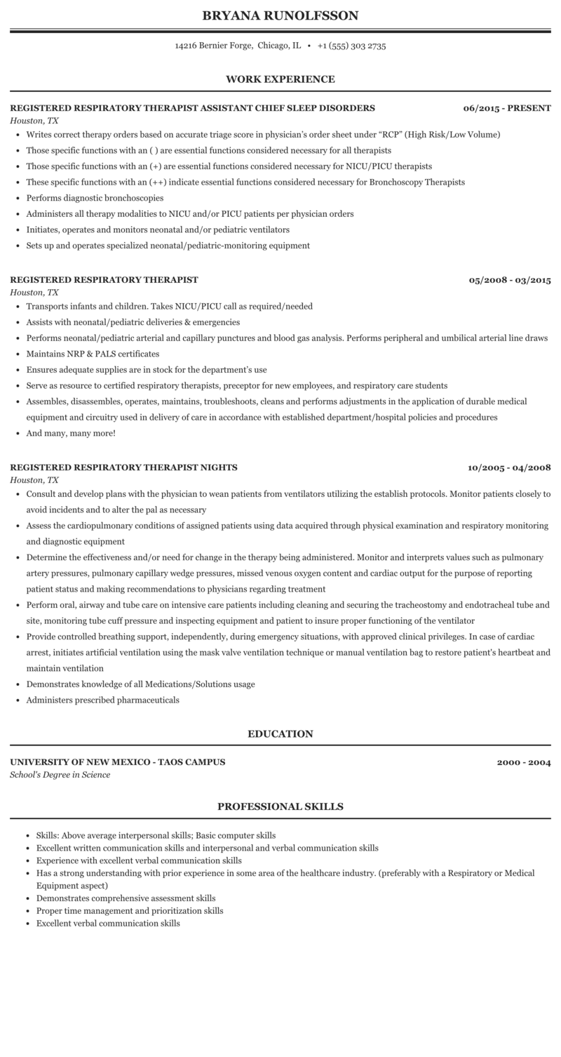 resume examples for respiratory therapist
