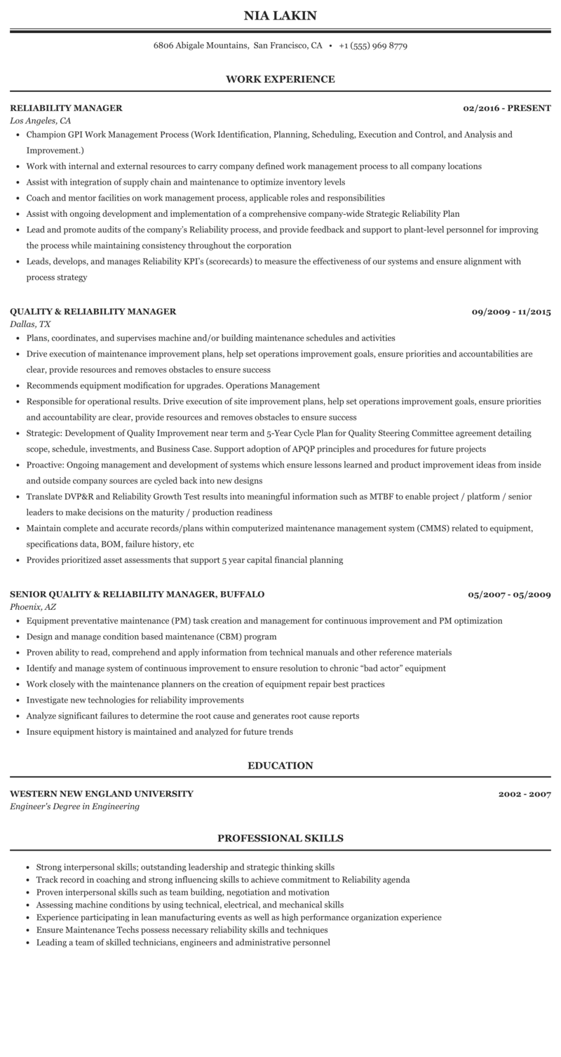 Reliability manager resume essay on butterfly in marathi