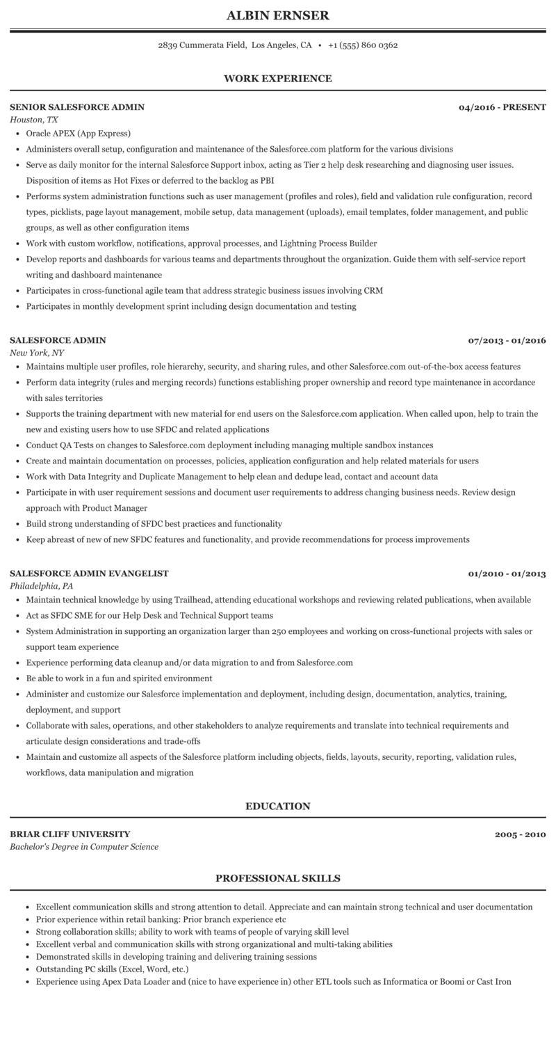 Salesforce Admin Resume Sample | MintResume