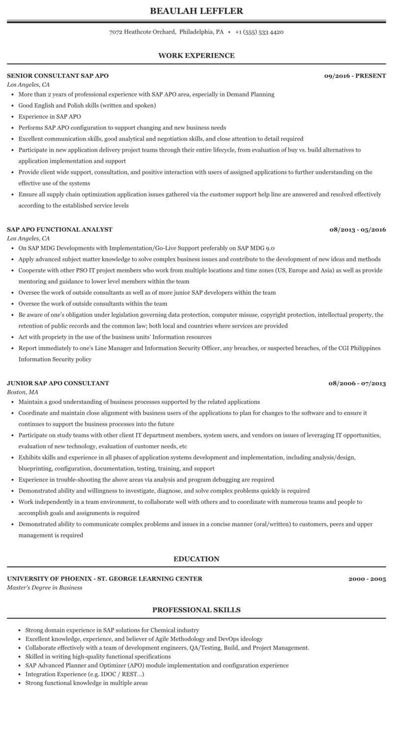 basic sap knowledge resume  best resume ideas