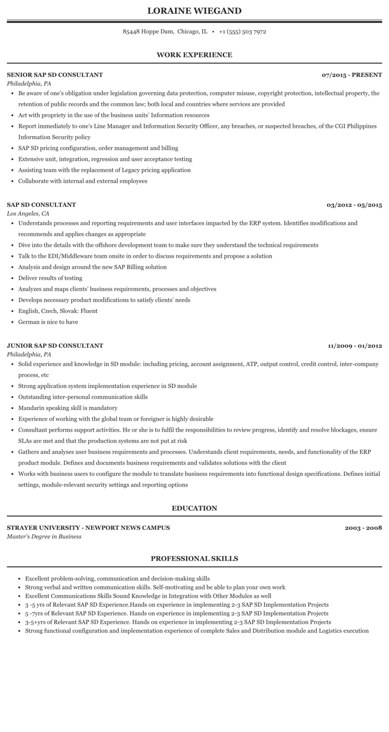 Sample resume for sap sd support what does it mean coursework
