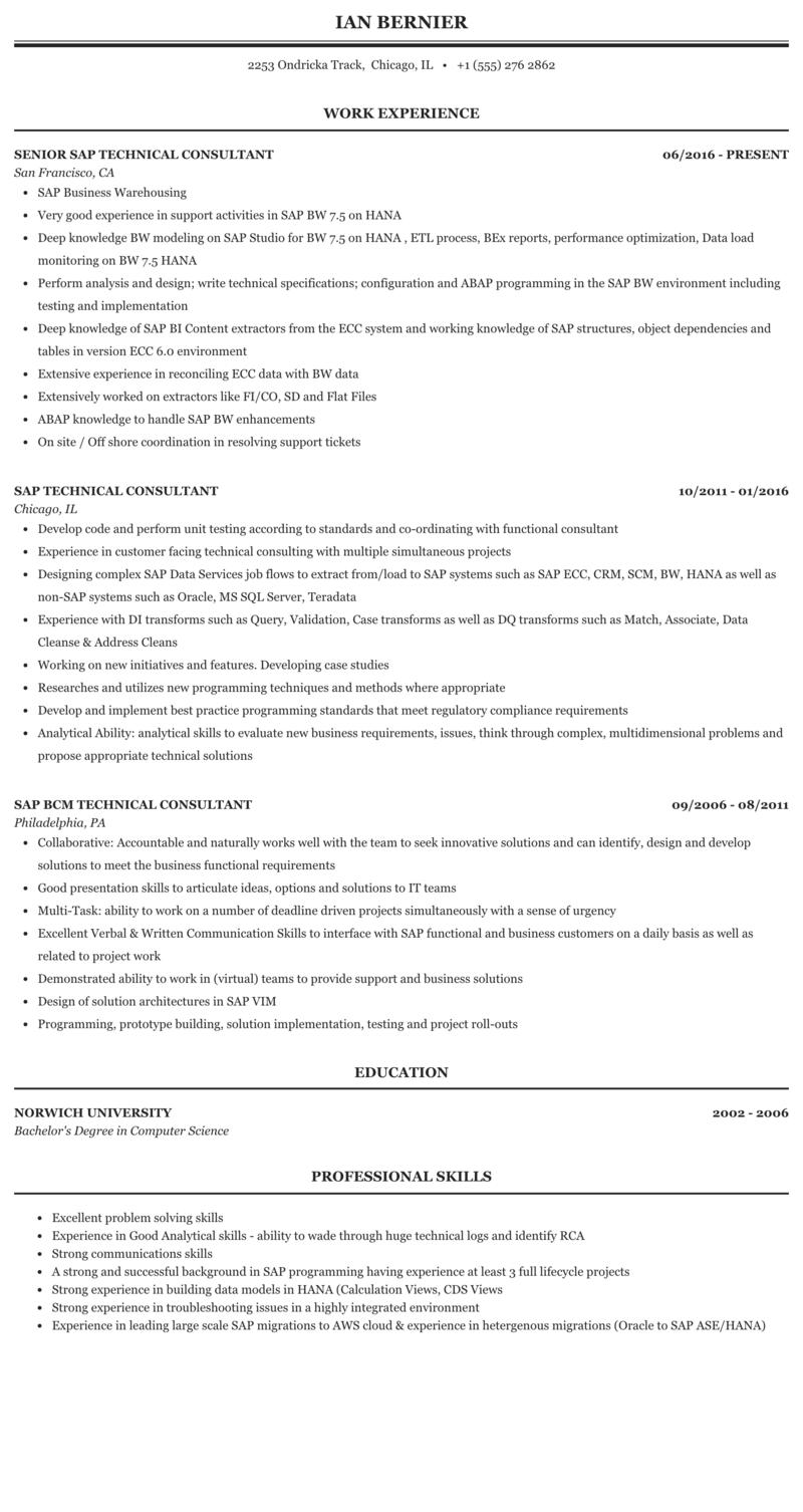 Sap technical skills resume stats homework help