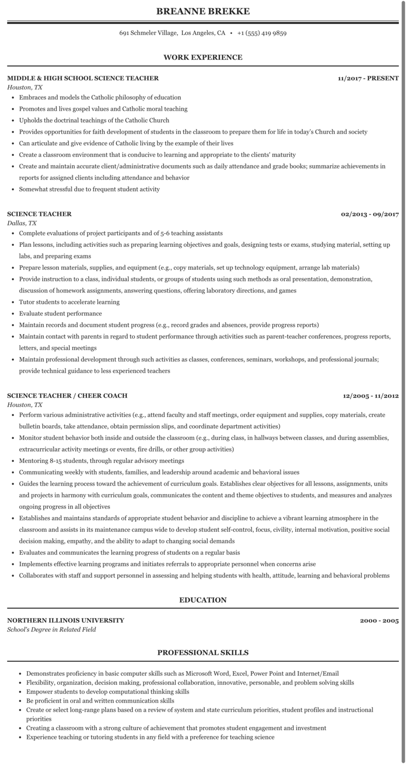 Science Teacher Resume Sample Mintresume