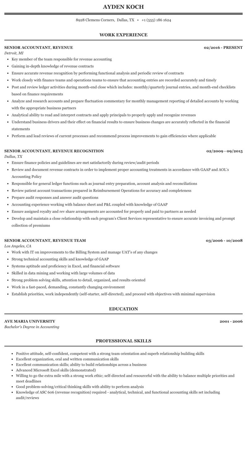 senior accountant resume  5 accountant resume examples
