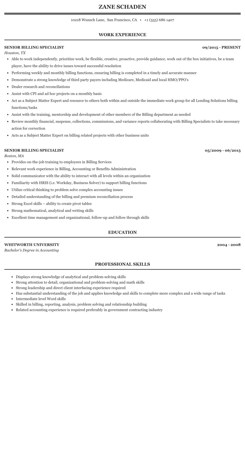 Senior Billing Specialist Resume Sample Mintresume