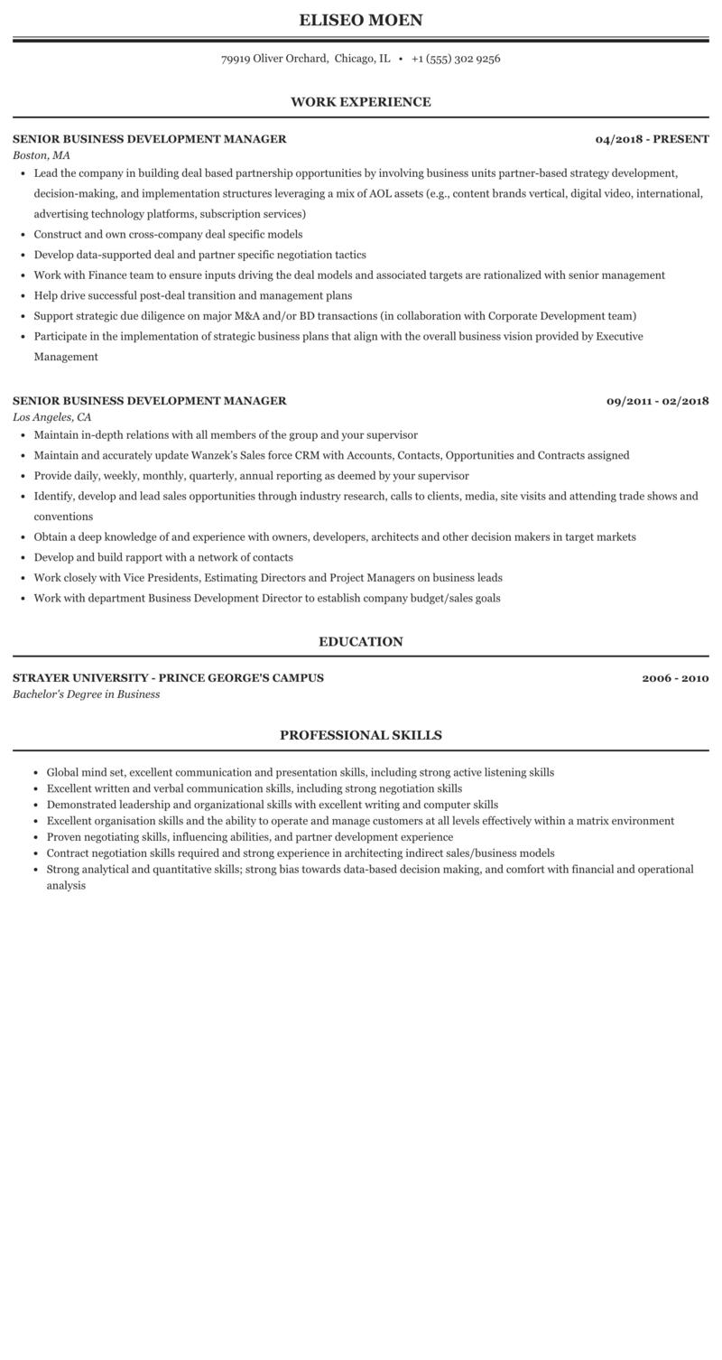 Senior Business Development Manager Resume Sample Mintresume