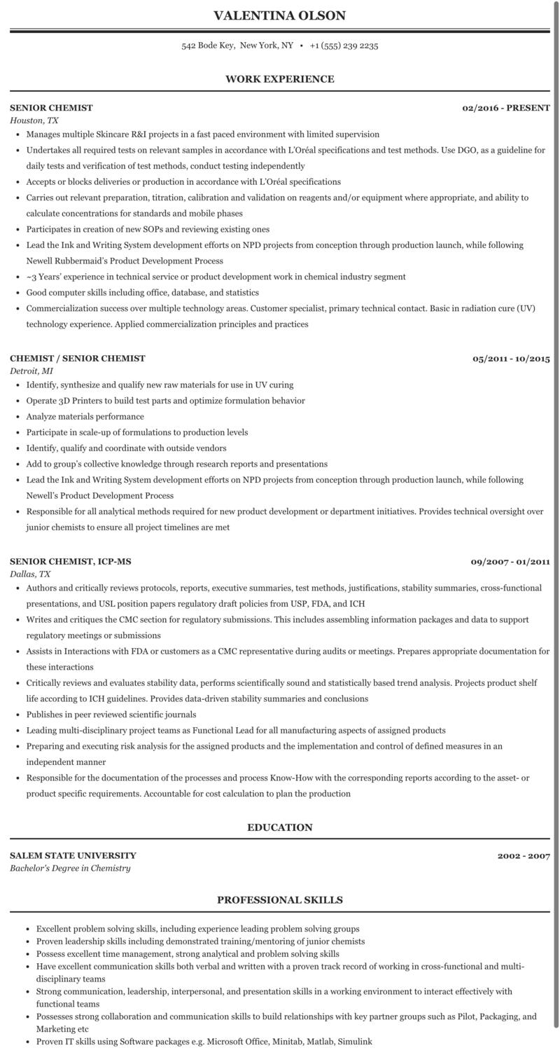 Senior Chemist Resume Sample Mintresume