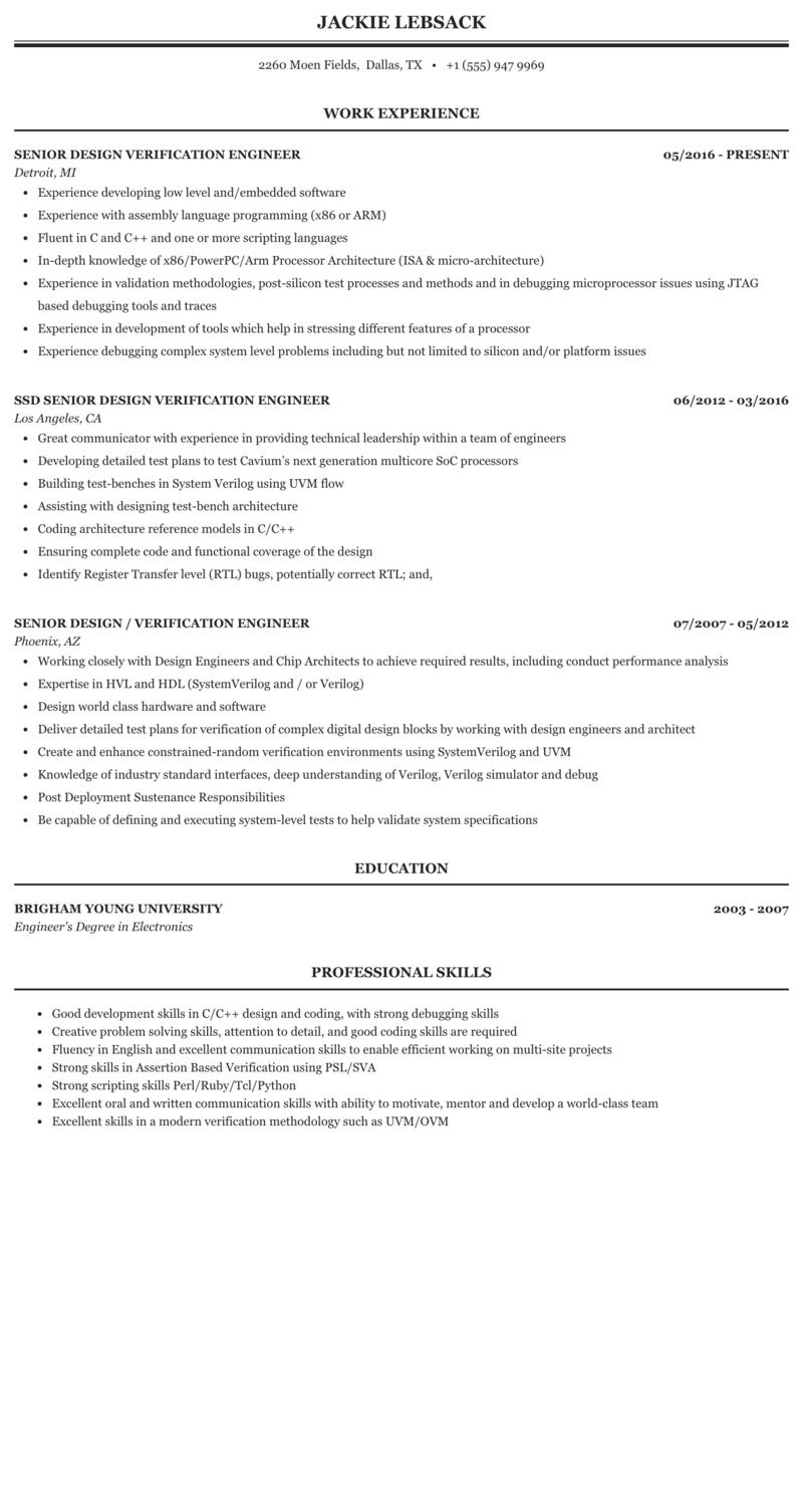 Senior Design Verification Engineer Resume Sample | MintResume