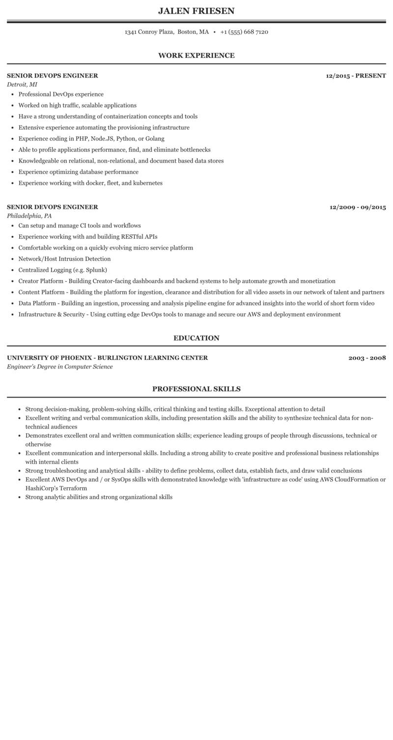 Senior Devops Engineer Resume Sample Mintresume
