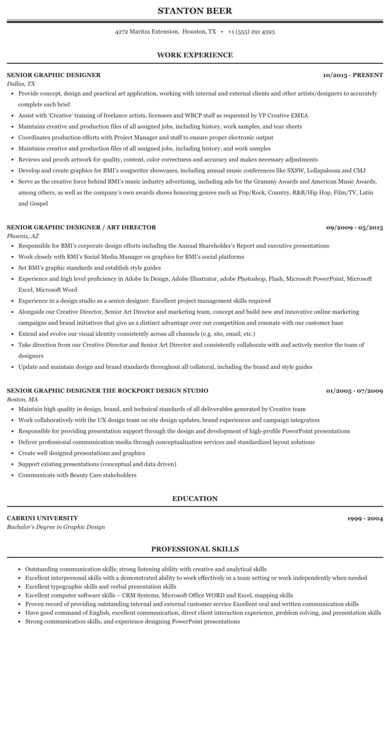 Senior graphic designer resume examples writing for the web book