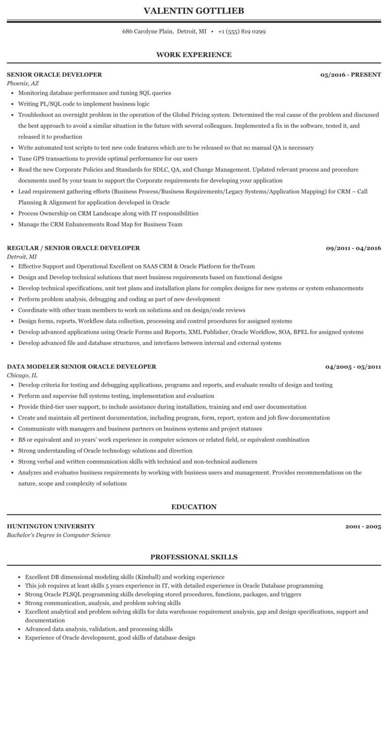 Oracle developer resume samples education in resume formatting