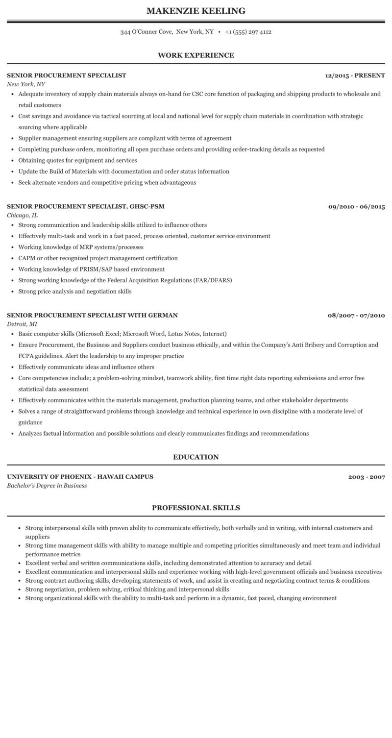 Sample resume procurement specialist good romeo and juliet essay quotes