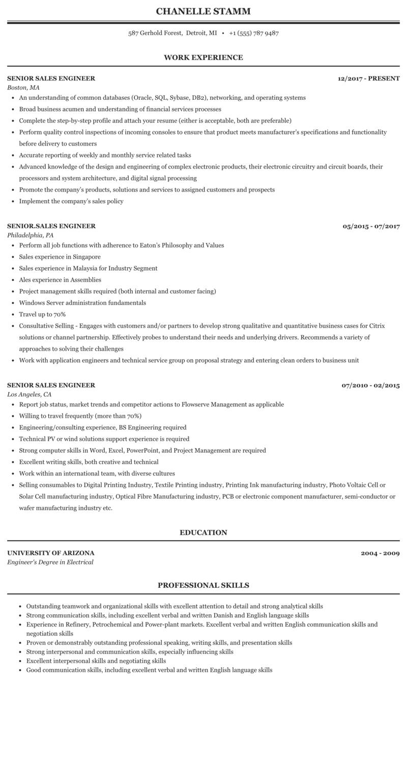 chemical engineer sales resume