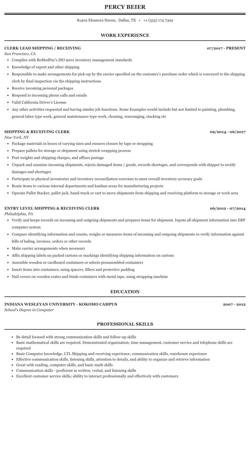 Shipping & Receiving Clerk Resume Sample   MintResume
