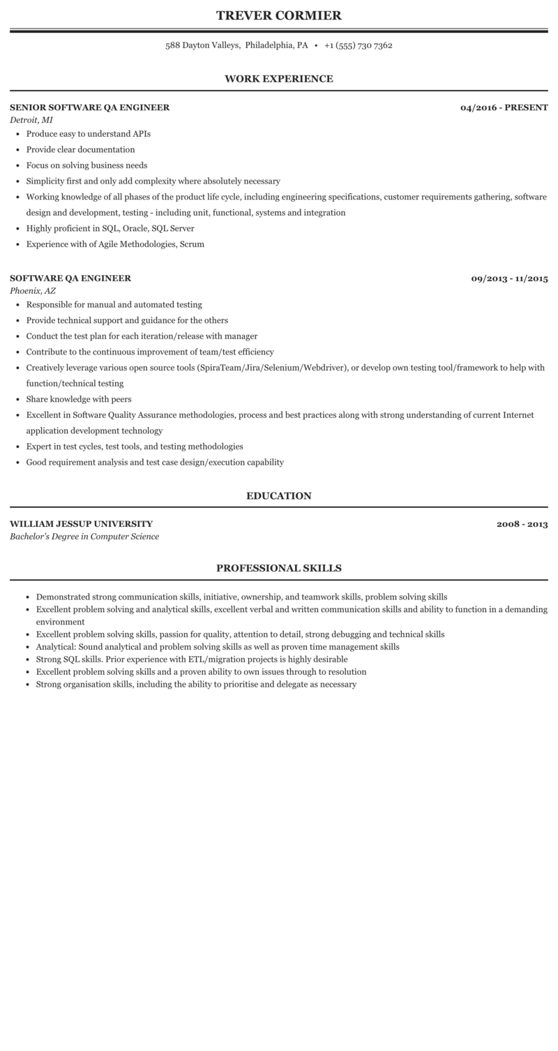 Software Quality Assurance Engineer Resume Samples Velvet Jobs