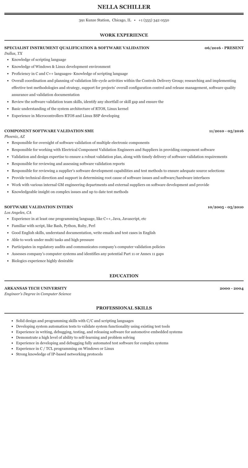 Software Validation Resume Sample | MintResume
