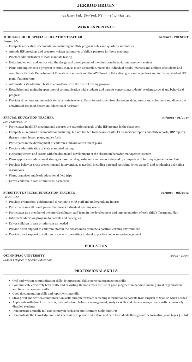 Special Education Teacher Resume Sample Mintresume