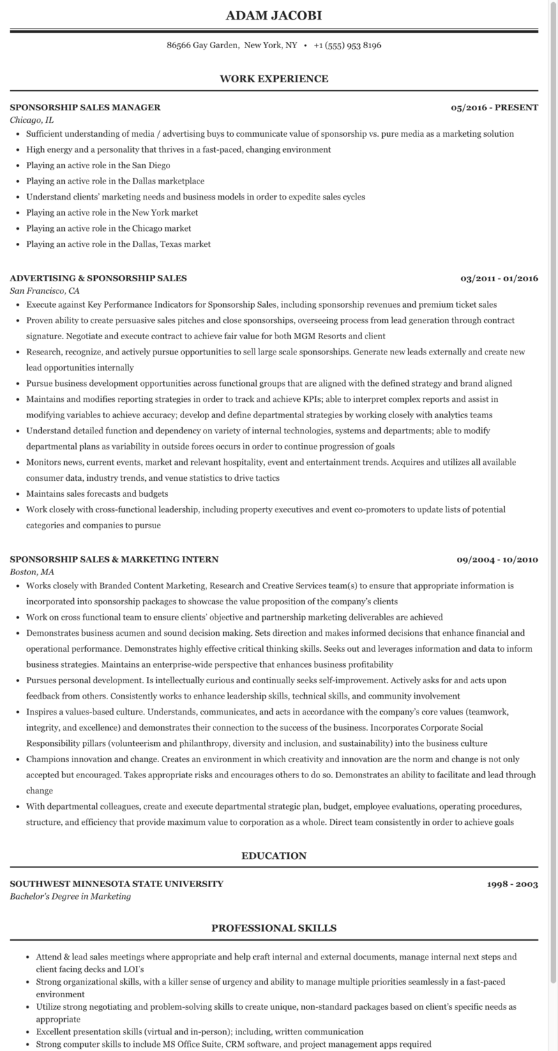 sponsorship sales resume example