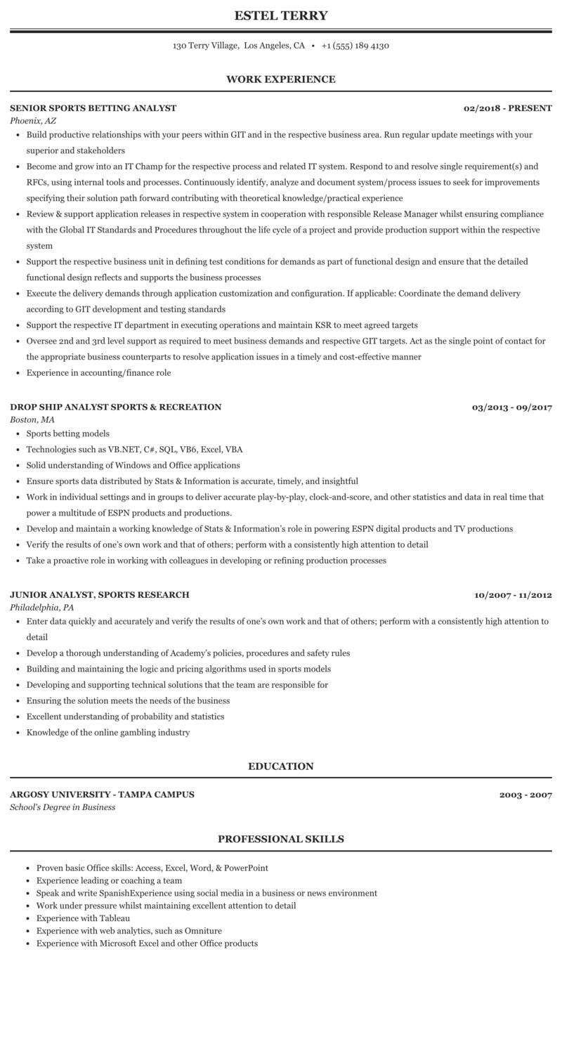 Sports Analyst Resume Sample Mintresume