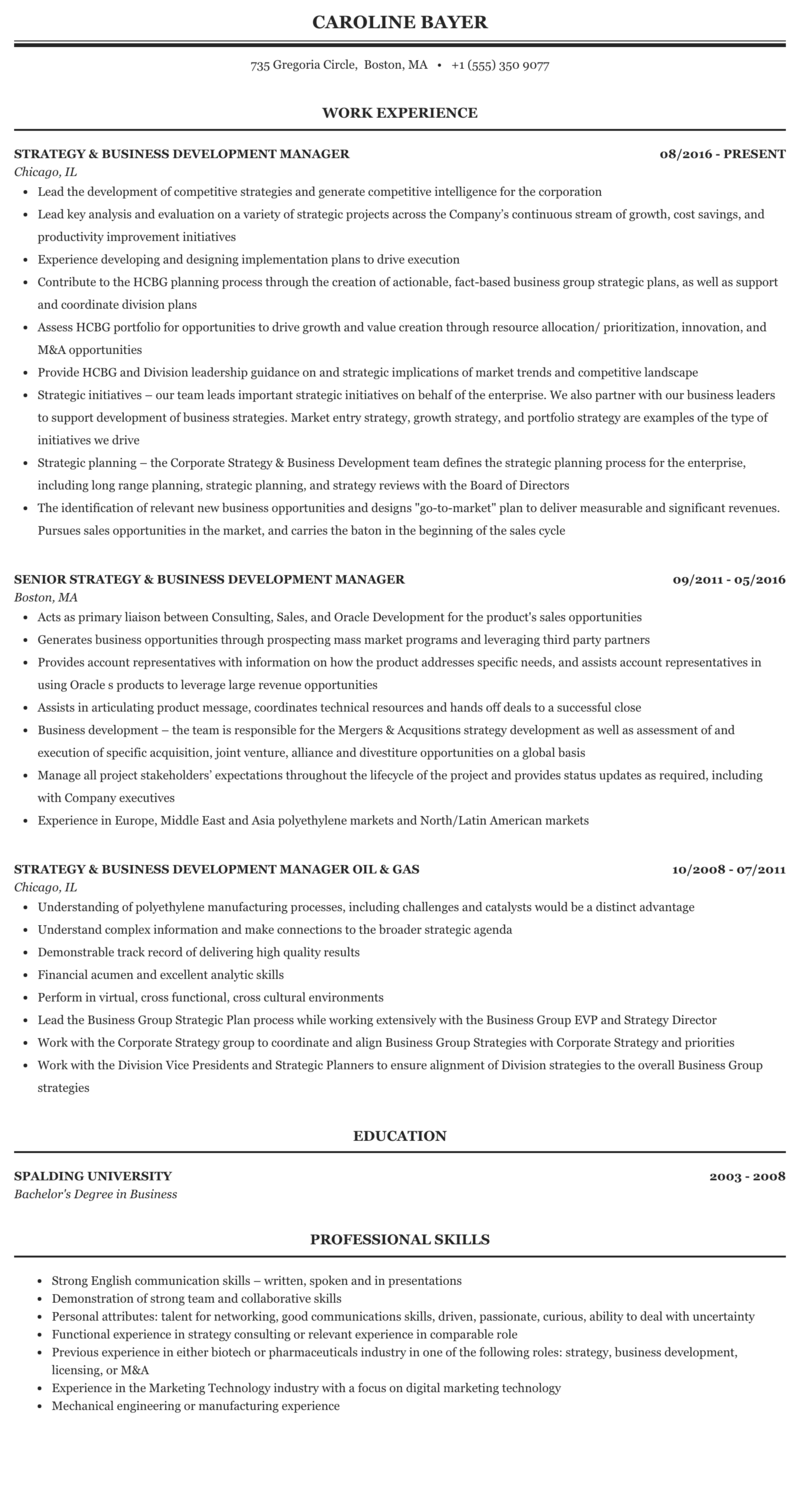 Strategy Business Development Manager Resume Sample Mintresume